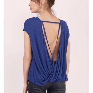 NWT drape y back strappy t shirt navy blue small